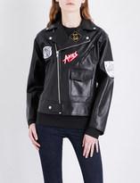 Aries Patch appliqué leather biker jacket