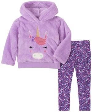 Kids Headquarters Toddler Girl 2-Piece Hooded Fleece Top with Dot Print Legging Set