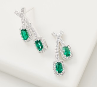 Diamonique Simulated Emerald Earrings, Sterling Silver