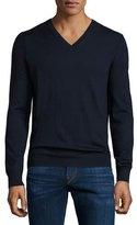 Burberry Dockley Wool V-Neck Sweater, Navy