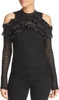 Aqua Cold-Shoulder Pointelle Knit Top - 100% Exclusive
