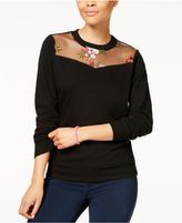 Say What Juniors' Illusion Floral-Embroidered Sweatshirt