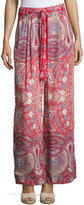 On the Road June Belted Wide-Leg Pants, Red Pattern