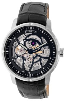 Heritor Automatic Ryder Black & Silver & Black Leather Watches 44mm