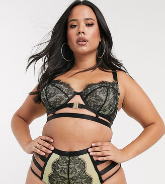 Playful Promises X Gabi Fresh lace strappy front fastening bra in green