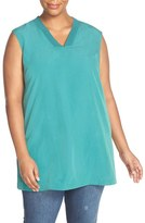 Sejour Plus Size Women's Ribbed V-Neck Sleeveless Tunic