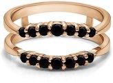 Araska Diamond 0.49 Carat Simulated Diamond 10k Rose Gold plated Wedding Wrap Enhancer Engagement Ring