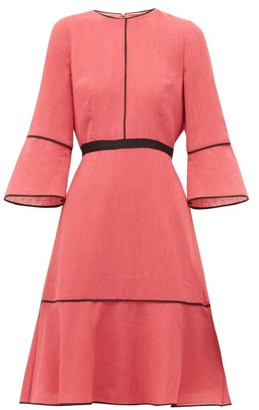 Cefinn Grosgrain-waist Slubbed-gauze Dress - Pink