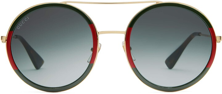 Thumbnail for your product : Gucci Round-frame metal sunglasses