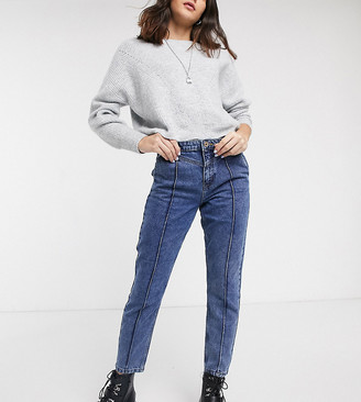 Only mom jeans with seam detail in mid blue wash