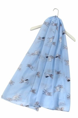 FUREVER GIFTS New French Bulldog Puppy Dog Print Womens Scarf Shawl Lightweight Blue Adorable Gift