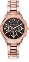 Karl Lagerfeld Optik Rose Gold PVD Stainless Steel Women's Chronograph Watch