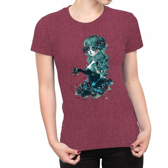 1Tee Womens Day of The Dead Sugar Skull Blue Woman with Long Hair T-Shirt Heather Burgundy XX-Large