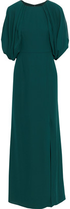Mikael Aghal Cutout Draped Crepe De Chine Gown