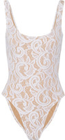 Norma Kamali Mio Stretch-lace Swimsuit - White