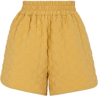 Fendi Silk Yellow Quilted Shorts