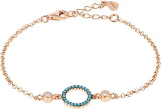 Latelita Halo Blue Turquoise Gemstone Circle Bracelet Rosegold