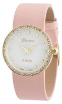 Geneva Platinum Women's Rhinestone Accented Round Face Simulated Leather Strap Watch - Pink