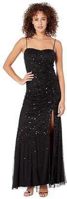 Adrianna Papell Beaded Tank Shirred Evening Gown (Black) Women's Dress