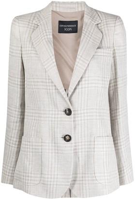 Emporio Armani Check-Print Single-Breasted Blazer