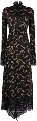 Paco Rabanne Lace-Trimmed Floral Maxi Dress