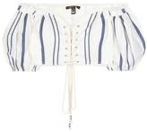 Roberto Cavalli Lace-up cotton-blend blouse