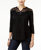 Style&Co. Style & Co. Lace-Neck Embroidered Top, Only at Macy's