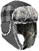 Dockers Plaid and Herringbone Mixed Media Trapper Cap with Faux Fur Lining