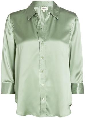 L'Agence Dani Silk Button-Down Shirt