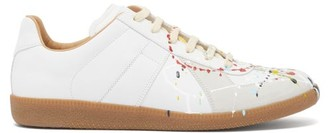 Maison Margiela Replica Paint-splatter Leather Trainers - White Multi