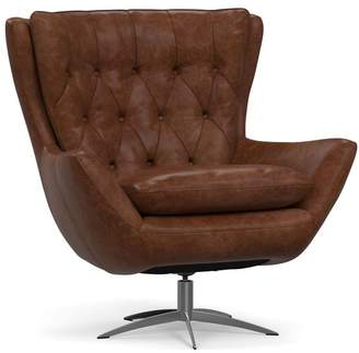 Pottery Barn Wells Petite Leather Tufted Swivel Armchair