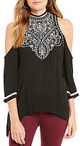 Eyeshadow Embroidered Cold Shoulder Blouse