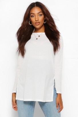 boohoo Maternity Side Split Rib Sweater
