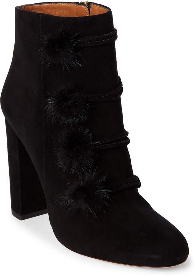 Aquazzura Black Ulyana Real Fur Pom-Pom Booties