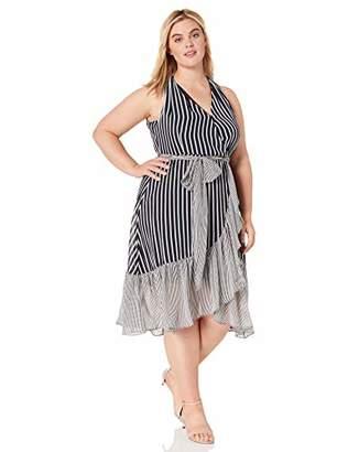 Gabby Skye Women's Plus Size Sleeveless V-Neck Stripe Wrap Dress