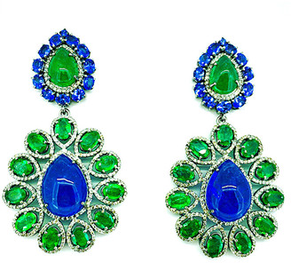 Arthur Marder Fine Jewelry 14K & Silver 14.00 Ct. Tw. Diamond & Tanzanite Earrings