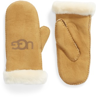 UGG Genuine Shearling Trim Leather Mittens