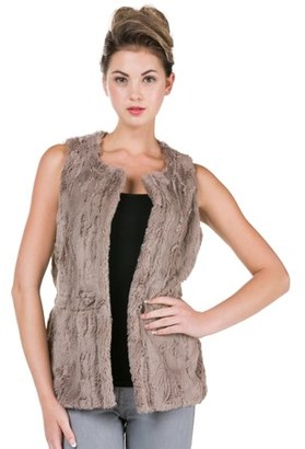 Melody Women's Round Neck Faux Fur Open Vest (MOCHA, SMALL)