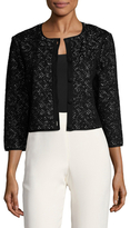 St. John Criss Cross Ribbed Cropped Cardigan