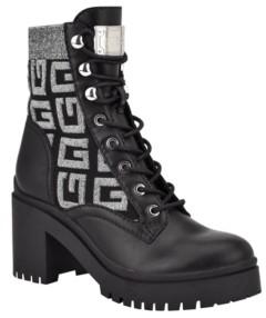 GUESS Women's Clarion Lug Sole Block Heel Combat Boots Women's Shoes