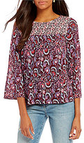 Lucky Brand Smocked Yoke Mixed Floral Print 3/4 Sleeve Knit Top