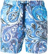 Etro spiral print swim shorts