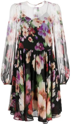 Twin-Set Floral-Print Long Sleeved Chiffon Dress