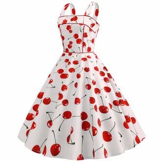 Dotbuy Shop Womens' Vintage Audrey Hepburn Style Dress Dotbuy 1950s Classy Rockabilly Retro Floral Pattern Print Cocktail Evening Swing Party Dress (2XL