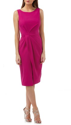 JS Collections Pleated Crepe Cocktail Dress