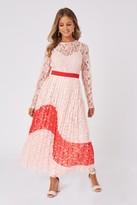 Thumbnail for your product : Little Mistress Mimi Nude Lace Colour Block Midaxi Dress