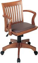 Office Star 108FW-1 Deluxe Wood Bankers Desk Chair with Brown Vinyl Padded Seat, Fruit Wood