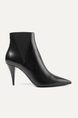 Saint Laurent Kiki Leather Ankle Boots - Black