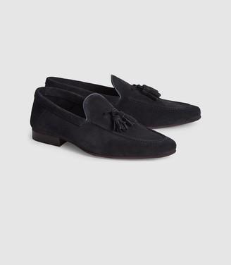 Reiss Larch - Suede Tassel Loafers in Navy