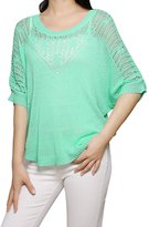 Allegra K Ladies Round Neck Short Batwing Sleeves Leisure Knit Shirt L